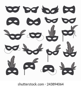 Set of isolated carnival masks, black and white