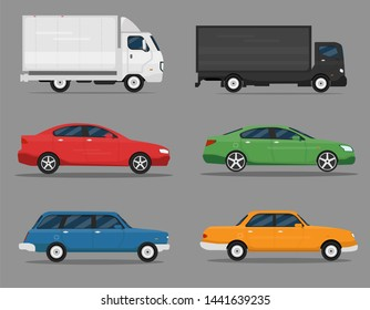 Set of isolated cars of different colors. Truck, business class auto, vintage car. Flat illustration, icon for graphic and web design