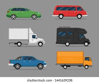 Set of isolated cars of different colors. Truck, pickup, vintage cars, house on wheels, bus campervan.  Flat illustration, icon for graphic and web design