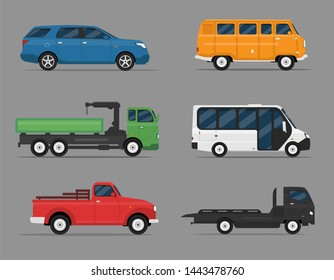 Set of isolated cars of different colors. 4x4, suv, pickup, business auto, vintage, bus for travel, truck. Flat illustration, icon for graphic and web design