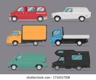 Set of isolated cars of different colors. 4x4, business auto, vintage car, pickup, bus for travel, truck. Flat illustration, icon for graphic and web design