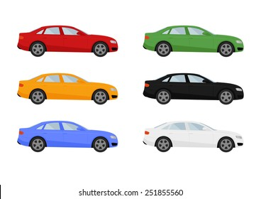 Set of isolated cars of different colors