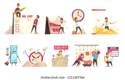 Set of isolated cartoon compositions on theme of time management planning schedule timetable and deadline vector illustration
