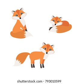 Set of isolated cartoon cute foxes. vector illustration, eps.
