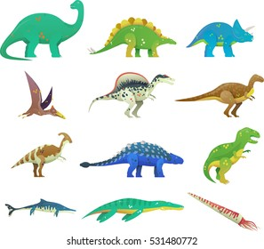 Set of isolated cartoon dinosaur or dino.