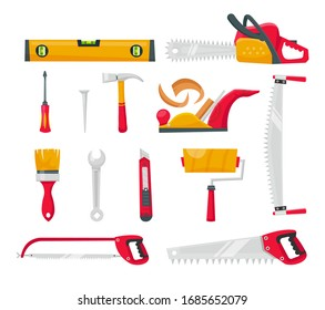 Set isolated cartoon icons building tools repair. Level, roller, brush, hammer, wrench, screwdriver, jigsaw, chainsaw, stationery knife. Tool box vector illustration.