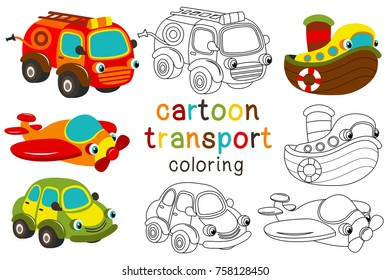 set of isolated cartoon transport with eyes - vector illustration, eps