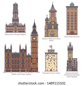 Set of isolated castle with landmark towers. England Big Ben clock and Serbia Gardos, astronomical clock in Czech town hall, Denmark round tower, Belfry in Bruges, Thessaloniki in Greece. Architecture