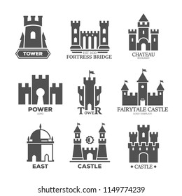Set of isolated castle parts for logo. Icons of ancient fortress construction elements like defense tower and gates, fortified bridge. Fort with walls for logotype. Stone historical monument