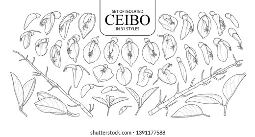 Set of isolated Ceibo in 31 styles. Cute hand drawn flower vector illustration in black outline and white plane on white background.