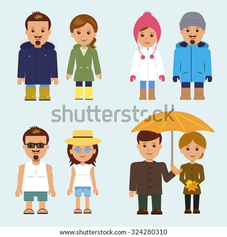 9b2f35dda9c Set of isolated characters. A man and woman in different clothes for every  season.