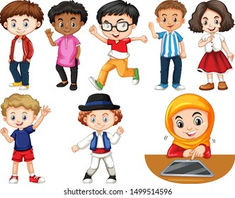 Set of isolated children in different actions illustration