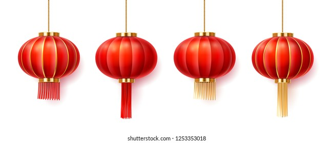 Set of isolated chinatown lanterns for new year or festival. Paper lamps for china or singapore, vietnam or taiwan, japanese, asia holiday celebration, buddhism temple. Asian decorations for wedding