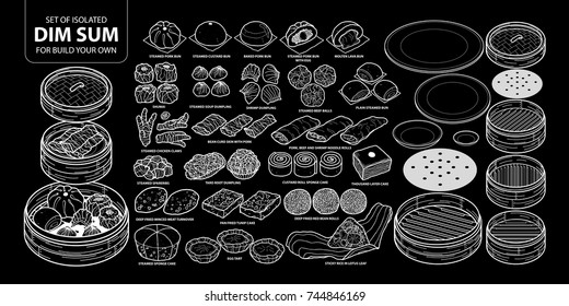 Set of isolated Chinese food, Dim Sum for build your own. Cute hand drawn food vector illustration only white outline on black background.