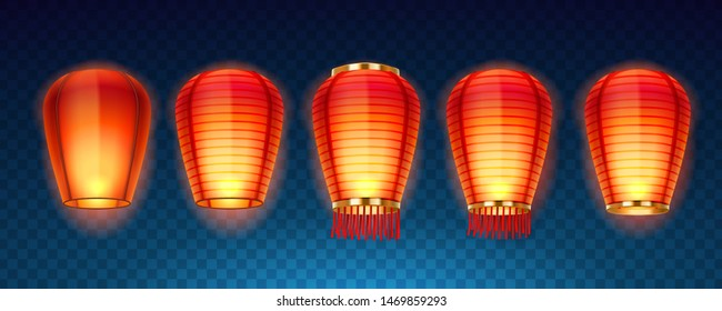 Set of isolated chinese or sky, Kongming flying lanterns for new year celebration. Japanese lamp or traditional Asian hanging light. Paper decoration for chinatown festive or mid autumn festival