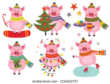 set of isolated christmas cheerful pigs - vector illustration, eps