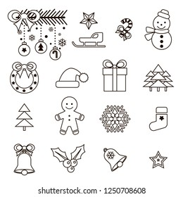 Set of Isolated Christmas Icons. Flat Style in Novelty Modern Trendy design. Vector Illustration. Bright Icons Set