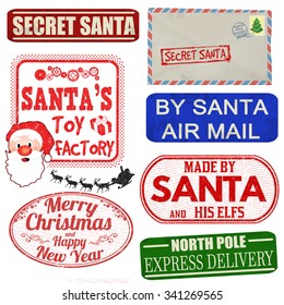 Set of isolated Christmas stamps and labels on white background, vector illustration