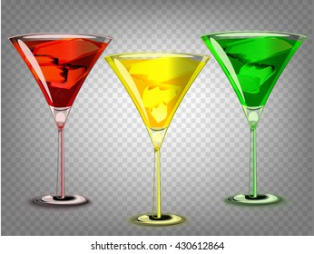 Set of Isolated cocktail glasses. Red, yellow, green
