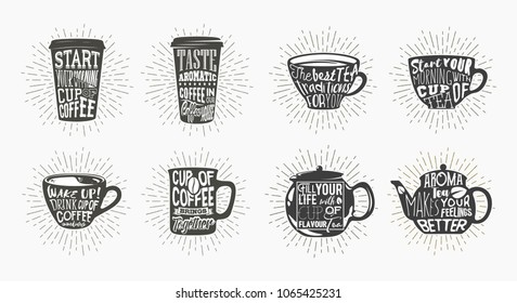 Set of isolated coffee mug with sun rays or glowing plastic sleeve, shining tea cup with font, glassware kettle with lettering for chalkboard. Caffeine and cafeteria, type and typography, drink theme