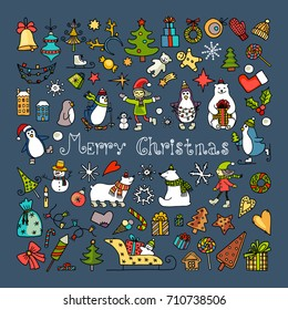 Set of isolated colored doodle christmas icons