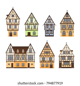 Set of isolated colored half timbered buildings on white background. Collection of flat facades of european framing houses, cottages.