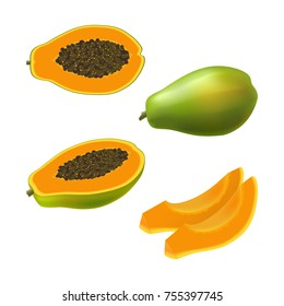 Set of isolated colored papaya, pawpaw, paw paw half with seeds, slice and whole juicy fruit on white background. Realistic fruit collection.