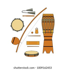 Set of isolated colorful brazilian musical instrument for bateria of capoeira on white background. Colorful collection of instruments: atabaque, agogo, pandeiro, reco-reco, berimbau.