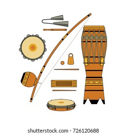 Set of isolated colorful decorative ornate brazilian musical instrument for bateria of capoeira on white background. Colored collection of instruments: atabaque, agogo, pandeiro, reco-reco, berimbau.