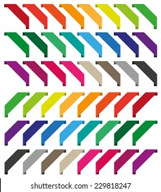 Set of isolated colorful ribbons. Collection for web shop