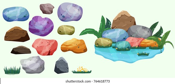 Set of isolated colorful river stones, gemstones and pile multicocolored mineral rock stones, grass and river, cartoon vector illustration. For game.