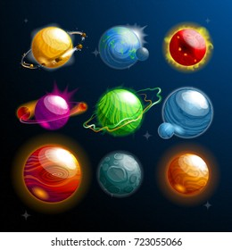 Set of isolated cosmos stars or planets with satellite or galaxy globe or sphere. Cartoon orbs with holes and craters on its surface. Science and exploration, universe and astronomy,space travel theme