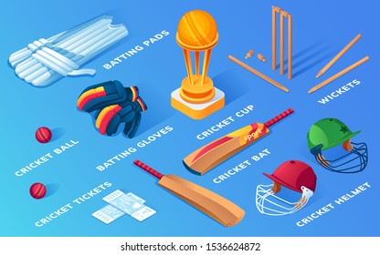 Set of isolated cricket items or ball sport equipment. Wooden stump and wicket, helmet and pads, gloves and ticket, bat and cup, trophy. Batsman or batter keeper and bowler icons. Game, sporting