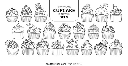 Set of isolated cupcake in 21 styles set 9. Cute hand drawn dessert in black outline and white plane on white background.