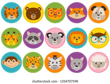 set of isolated cute animal heads in circle - vector illustration, eps