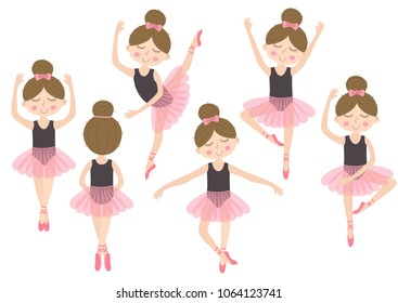 set of isolated cute ballerina