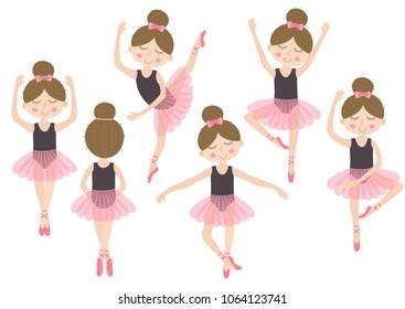 set of isolated cute ballerina