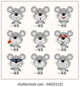 Set of isolated cute mouse in different poses in cartoon style.