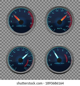 Set of isolated dashboard speedometers. Motorbike or motorcycle, auto or automobile, lorry speed measure gauge. Vector illustration EPS10