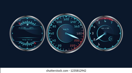 Set of isolated dashboard speedometers. Realistic sensor panel with arrows. Vector scale of level gasoline, vehicle tachometer, car speedometer. Chrome neon board. Measuring speed illustration.