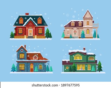 Set of isolated decorated buildings for 2021 new year and christmas. Building with snowman and fir tree at yard, construction facade with lanterns for xmas. Holiday and celebration,winter architecture