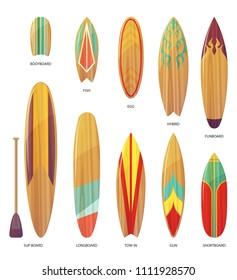 Set of isolated different types of surfboards. Bodyboard and fish, egg and hybrid, funboard and sup with paddle, longboard and tow-in, shortboard. Surfing desks collection for surfer gear. Sea, ocean