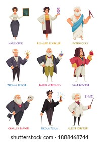 Set of isolated doodle style human characters of world famous scientists from different centuries with text vector illustration