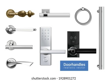 Set of isolated door knobs handles realistic icons with images of classic and modern digital handles vector illustration