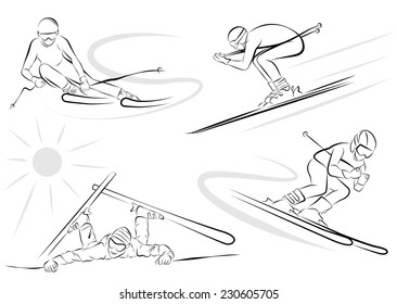 Set of isolated downhill skiing vector illustrations