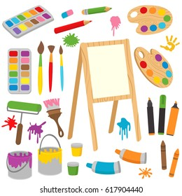 set of isolated drawing tools - vector illustration, eps