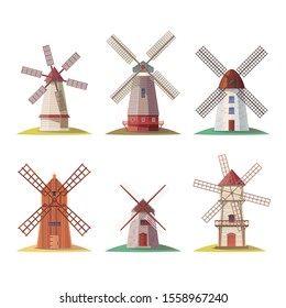 Set of isolated dutch stone mill or netherland wooden windmill, holland building for flour or european rural structure. Millstones for grain or bread processing. Wheat and vintage architecture theme
