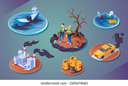 Set of isolated ecology catastrophe or pollution disaster, environment harm or accident contamination. Ship or boat oil spill, plant air pollution, car gas hazard, water spoiling, radioactive waste