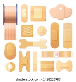 Set of isolated elastic adhesive bandage or realistic plaster strip, sticky square patch, different shapes of medicine tape for wound recovery. Medical, health, injury and recovery, hospital and cure