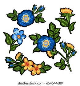Set of isolated elements of floral embroidery.